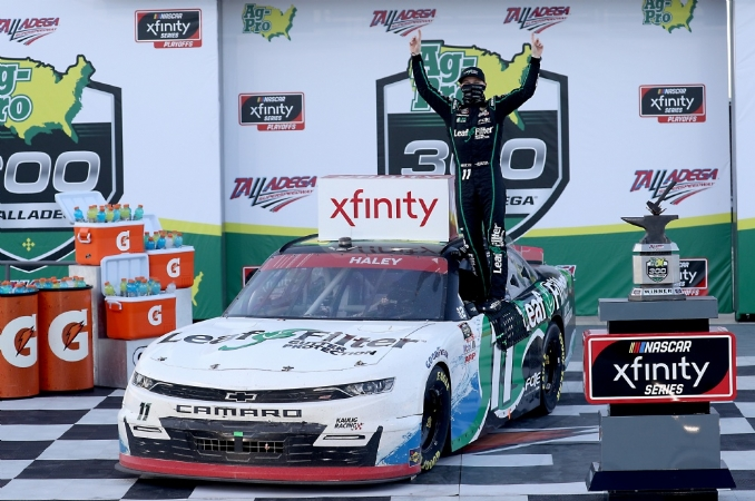 Justin Haley bunnyhops his way to Victory Lane at Talladega