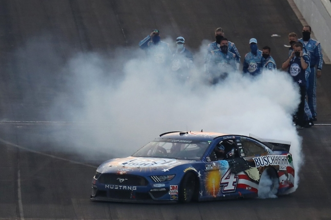 Winning never gets old for Kevin Harvick who goes back-to-back at the Brickyard