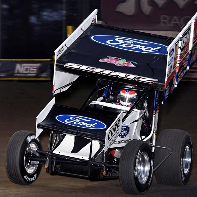 Donny Schatz tests new Ford 410 engine