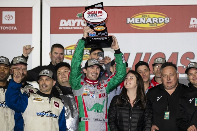 Michael Self holds off Hailie Deegan for second Daytona win